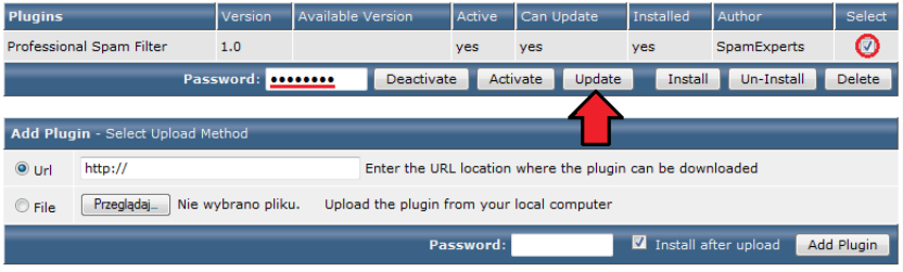 Fig. 10: Plugin Manager with module ready to update.