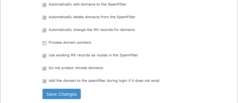 Fig. 5: Configuration of SpamExperts Module For DirectAdmin at Configuration tab.